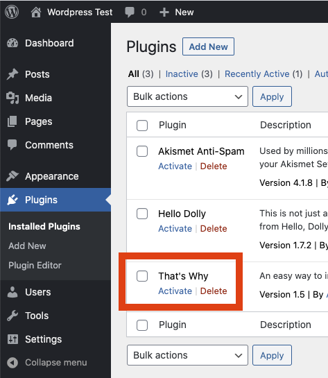 Activate the That's Why WordPress plugin